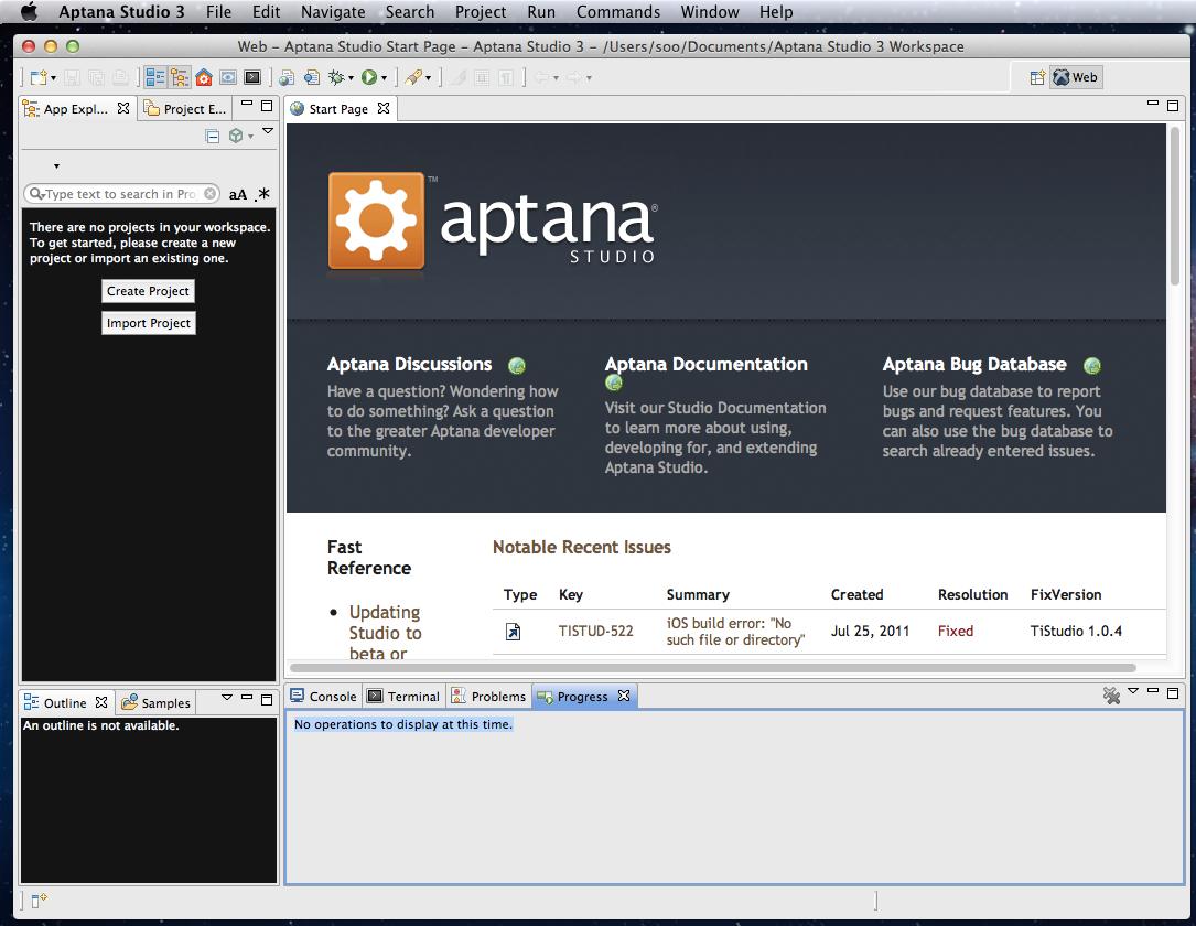 『Aptana Studio 3』の画面。